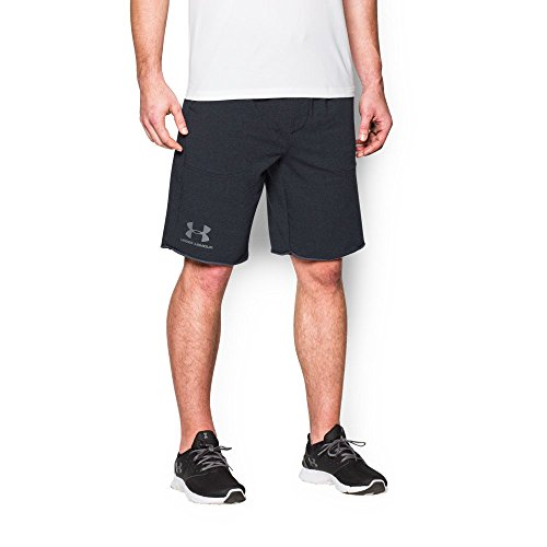 (Under Armour Men's Terry Fleece Shorts, Asphalt Heather (005)/Steel, Small)