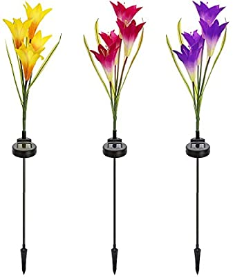 Sorbus Solar Light Flower Lily Stakes, Outdoor LED Garden Flowers for Night Lighting, Solar Path Walkway, Lawn, Garden, Pond, Patio, Gravestones, Special Occasions, etc
