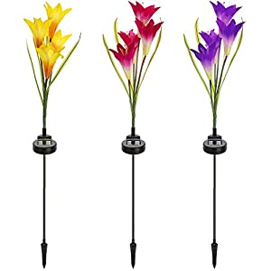 Sorbus Solar Light Flower Lily Stakes, Outdoor LED Garden Flowers for Night Lighting, Solar Path Walkway, Lawn, Garden, Pond, Patio, Gravestones, Special Occasions, etc 3
