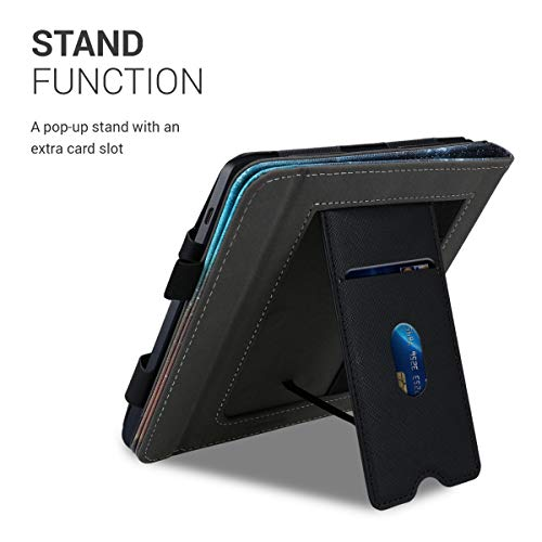 kwmobile Case Compatible with Kobo Libra H2O - PU Leather Cover with Magnet Closure, Stand, Strap, Card Slot - Cosmic Nature Blue/Grey/Black