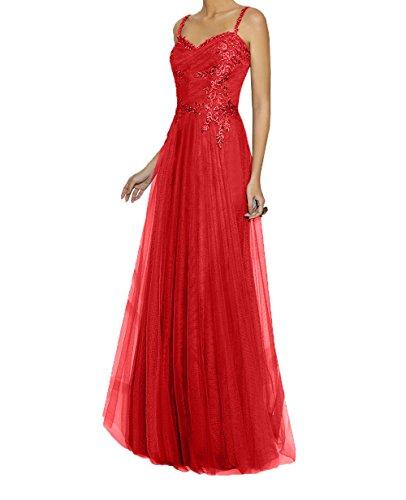 Abendkleider mit Zwei Festlichkleider Rock Tuell Traeger Rot A Spitze Promkleider La Applikation Braut mia Linie Ballkleider qXwgz