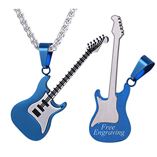 (U7 Men Women Music Lover Jewelry Gift Ion-Plating Blue Metal Stainless Steel R&B Rock Electric Bass Guitar Pendant Necklace, Chain 22
