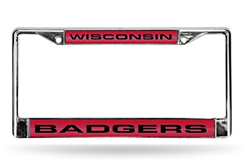 NCAA Wisconsin Badgers Laser Cut Chrome Plate Frame (License Plate Frame Badgers)