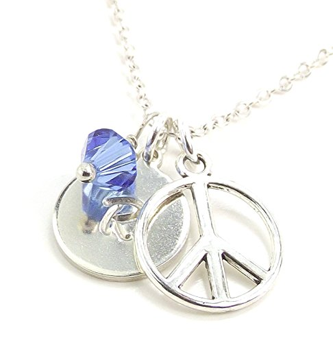 LaFenne Personalized Peace Symbol Initial Necklace with Birthstone Crystal from Swarovski Custom Letter Charm ()