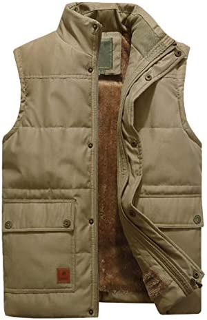 KEFITEVD Mens Winter Fleece Fishing Body Warmer Warm Windproof Gilet Outdoor Photography Vest with Multi Pockets