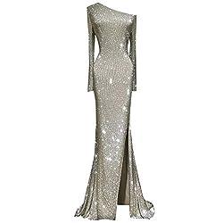 One Shoulder Floor-Length Dress with Slit