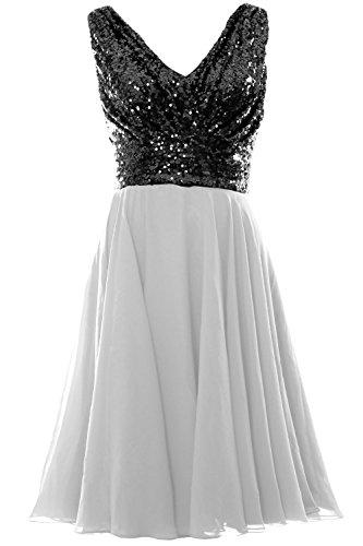 MACloth Women V Neck Sequin Chiffon Short Bridesmaid Dress Formal Evening Gown Cielo azul