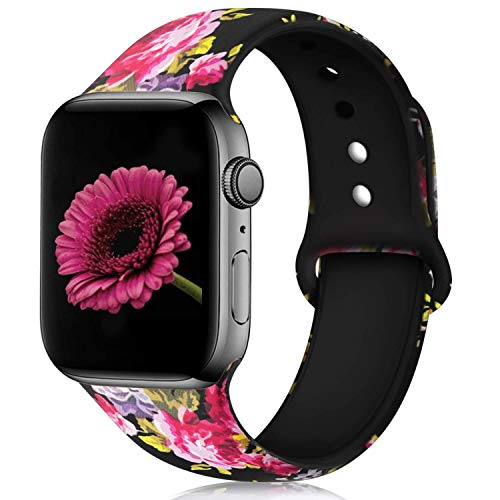 (Haveda Floral Bands Compatible with Apple Watch Band 44mm 42mm, Soft Pattern Printed Silicone Sport Replacement Wristbands for Women Men Kids with Apple iWatch Series 4 Series 3/2/1, M/L, Pink Flower)