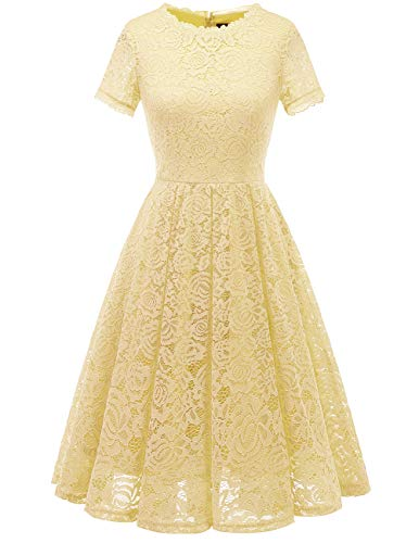 DRESSTELLS Women's Bridesmaid Vintage Tea Dress Floral Lace Cocktail Formal Swing Dress Yellow L (Soft Dress Yellow)