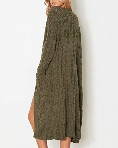 Moda Eleganti Giaccone Baggy Invernali Colore Outerwear Manica Lunga Cappotto Cardigan Puro Con A Giovane Women Giacca Bianca Tasche Autunno Casual Cappotti Donna Maglia xnfPXwz