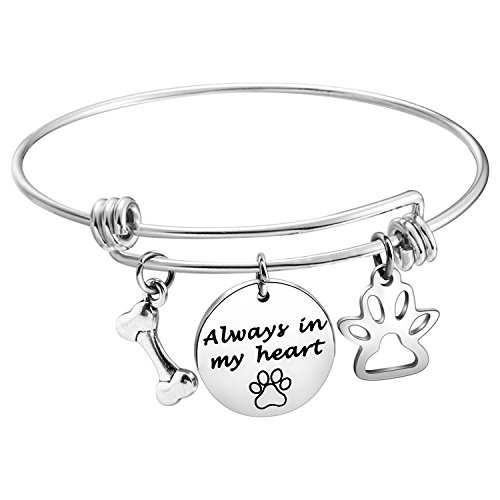 MAOFAED Paw Print Expandable Bangle Special Gift for dog lovers Pet Memorial Bracelet Always in my heart (Pet Bracelet) (Lover Heart Bracelet)