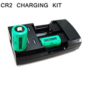 Rapid Li-ion CR2 Charger and Two CR2 3V Lithium ion Rechargeable Batteries (110V/220V Wall and 12V car adapter included)