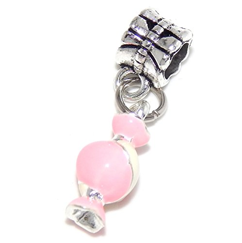 Candy Mom Wrappers (GemStorm Silver Plated Dangling 'Pink & White Enamel Candy' For European Snake Chain Bracelets)