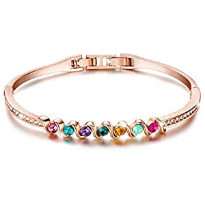 """Menton Ezil """"Rainbow"""" Rose Gold Plated Bangle Bracelets AAA CZ Diamond Jewelry for Women Gift for Her – Promise of Love"""