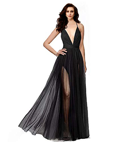 Night Glamour Women's Elegant Prom Dresses deep v-NecklineBack Tulle Sleeveless Long Party Prom Evening Formal Dress (Black, Large) (Black Chiffon Gown)