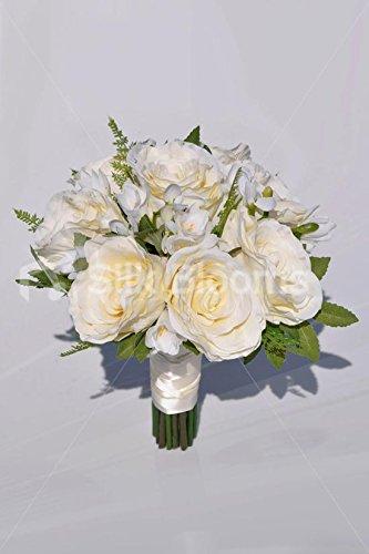 Ivory Large Fresh Touch Roses, Freesia & Green Foliage Vintage Wedding Bridesmaid Bouquet