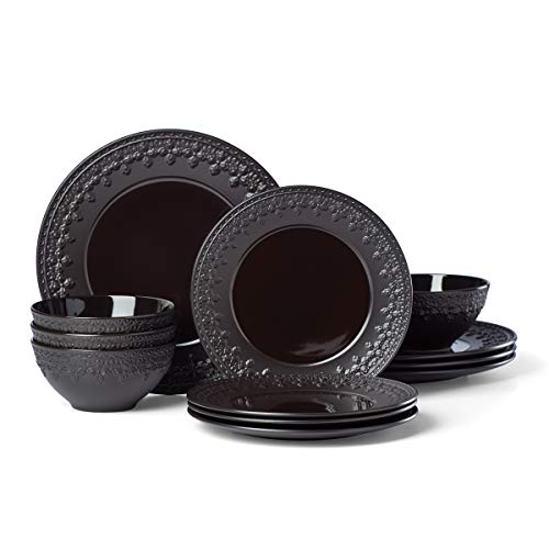 Lenox Chelse Muse Fleur 12-Piece Dinnerware Set, 0.0, Black