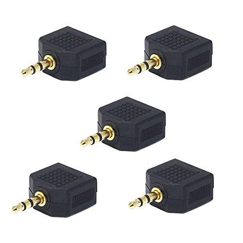 SEGMOI(TM) 5Pack 3.5mm 1 Male to 2 Female Stereo Jack Socket Audio Headphone Split Adapter For Earphone Headset Converting Connector Splitter Headphone (Headset 1 Plug compare prices)