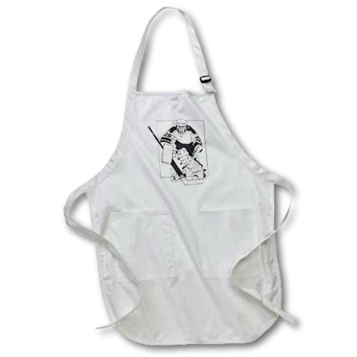 3dRose apr/_26014/_4 Hockey Player-Full Length Apron with Pockets Black 22 by 30-Inch