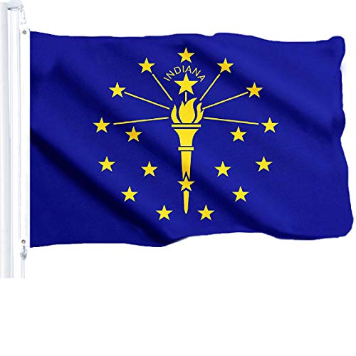 Indiana State Polyester Flag - G128 Indiana State Flag 150D Quality Polyester 3x5 ft Printed Brass Grommets Flag Indoor/Outdoor - Much Thicker More Durable Than 100D 75D Polyester
