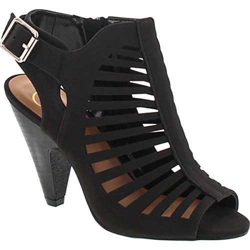SNJ Womens Cut Out Strappy Buckle Sling Back Chunky High Heel Sandals,Color:BlackStack, Size:8.5