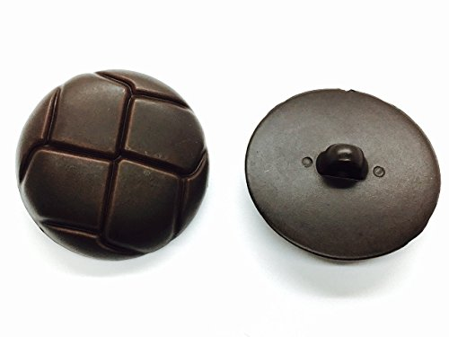 Trimming Shop Set Of 6 Classic Plastic Buttons - Football Design Leather Look-Alike Dark Brown 20Mm ()