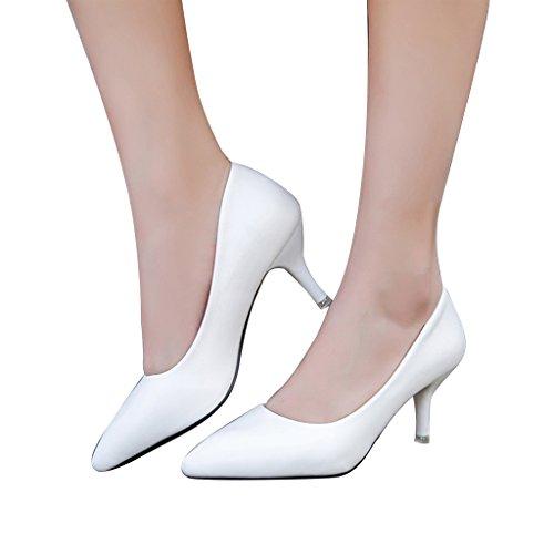 ALUK- Frühling und Herbst / spitz / fein mit / High Heels / flacher Mund / einzelne Schuhe / wild sexy / professionelle Damenschuhe ( Farbe : Schwarz , größe : 35-Shoes long225mm ) Weiß