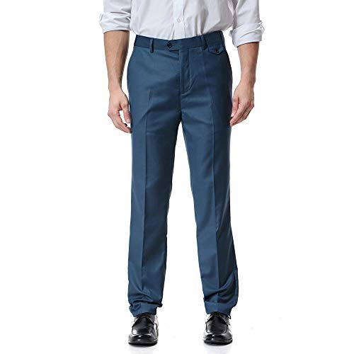 Pants For Men, Clearance Sale! Pervobs Men Casual Solid Straight Flat Zipper Business Work Pants Trouser With Pockets(XL, Blue) by Pervons Mens Pant