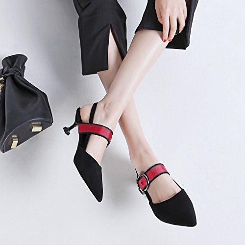 Taille Fermé Black Cour Satin Sandales Femmes Toe Vintage Chaussures Talon De Femme Chaton Mariage Slingback Boucle Pompes qZEKaA