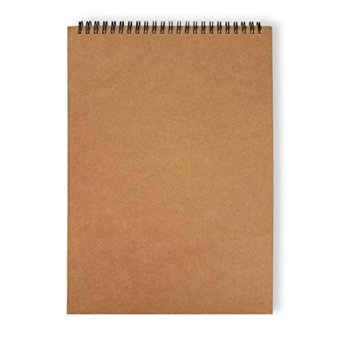 WITERY Spiral Kraft Cover Sketchbook Wirebound Notebook: Coofficer Blank Sketch Book Pad-30 Sheets of 210297 mm Blank Paper Coil Notebook for Drawing, Doodling or Sketching (Brown)