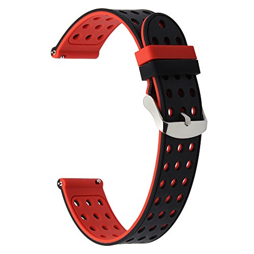 TRUMiRR 24mm Quick Release Silicone Rubber Watch Band Strap Replacement for Sony Smartwatch 2 SW2, Suunto TRAVERSE, Other Watches with 24mm Lug