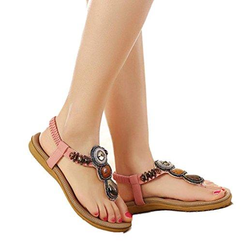 Clip Pink Beaded - ❀Todaies Women Fashion Sandals Sweet Beaded Clip Toe Flats Bohemian Herringbone Sandals 2018 (US 6.5, Pink)