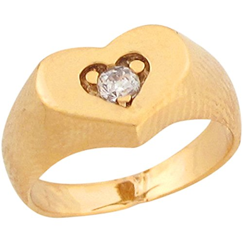 10k Real Yellow Gold White CZ Heart Shaped Cute Baby Girls Ring by Jewelry Liquidation (Image #3)