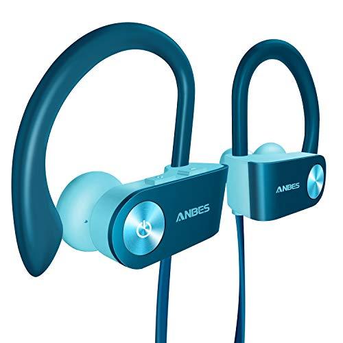 Bluetooth Headphones, Anbes Wireless Earbuds, IPX7 Waterproof Sports Earphones with Ear Hooks & Mic, HD Stereo in-Ear Headphones Gym Running Workout, 8 Hours Battery Noise Canceling Headset