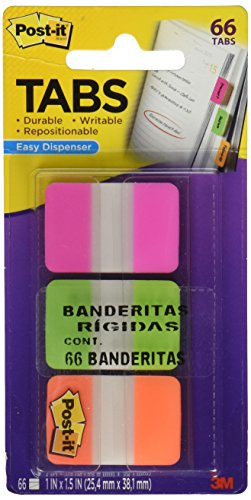Post-it Tabs with On-the-Go Dispenser, 1-Inch Solid, Pink, Green, and Orange, 22-Tabs/Color, 66-Tabs/Dispenser