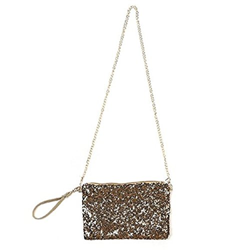 Lady Glitter Sparkling Bling Sequins Crossbody Wristlet Evening Party Clutch Bag