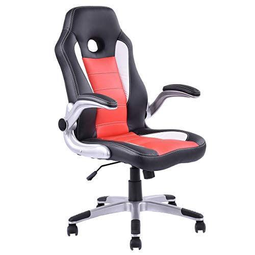 Executive PU Leather Racing Style Bucket Seat Office Chair Desk Task Computer Apontus