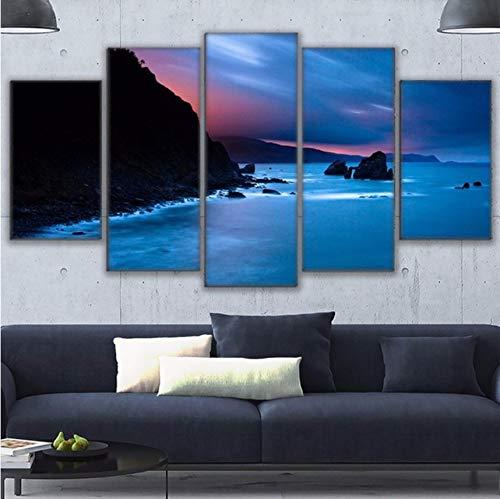 LSFHB Canvas Paintings Home Decor Wall Art Framework 5 Pieces San Juan De Gaztelugatxe Pictures Hd Prints Beach Seascape Poster Pengda-200X140Cm