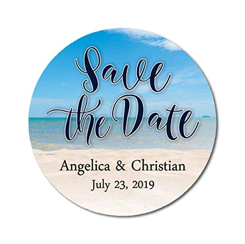 Darling Souvenir Round Beach Photo Save The Date Stickers Wedding Personalized Bride Groom Names and Date Envelope Seals 45 Pcs- Blue & Beige
