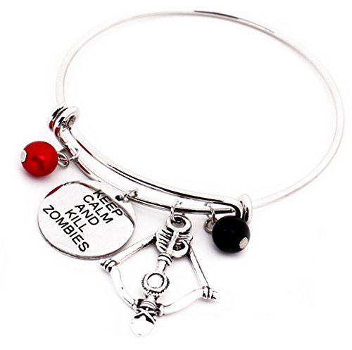 The Walking Dead Message Expandable Silver Bracelet Bangle Keep Calm and Kill Zombies Letter Pendant with Pearls Crossbow Charm Bracelet Halloween Cosplay Jewelry