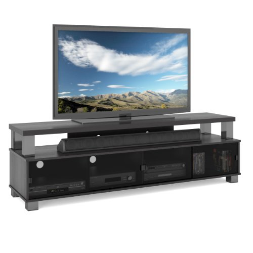 Sonax B-003-RBT Bromley TV stand, Ravenwood Black (Glass Tv Bench)