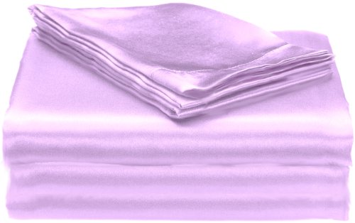 """Elegance Linen® Luxury Silky Soft SATiN 4-Piece Sheet Set, SOLID, Deep Pocket Up to 17"""" - All Sizes and Many Colors Available , Platinium"""