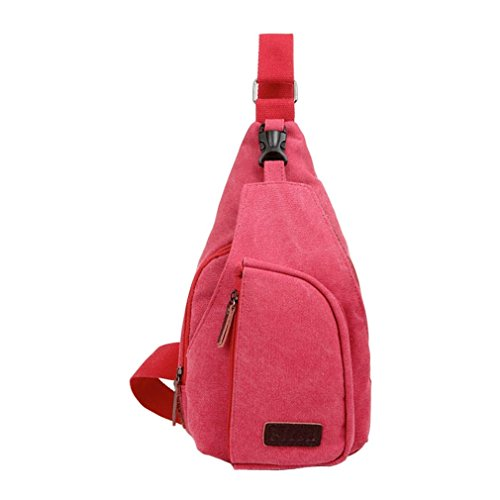 Secret paradise Hombre Satchel de lona pequeña bolsa de hombro bolsa de viaje mochila de senderismo, color rojo