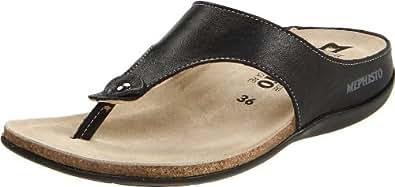 Mephisto Women's Agacia Thong Sandal,Black Calfskin,8 M US
