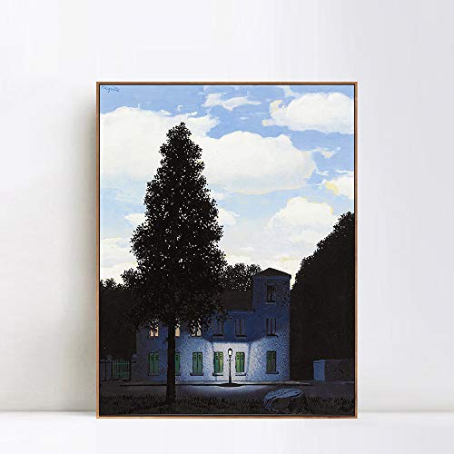 (INVIN ART Framed Canvas Giclee Print Art The Empire of Lights 1954 by Rene Magritte Wall Art Living Room Home Office Decorations(Wood Color Slim Frame,24