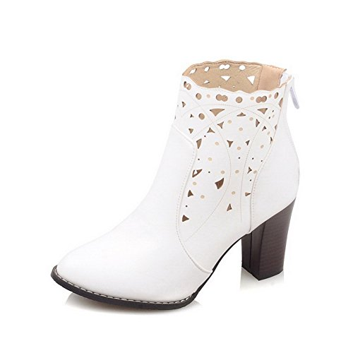 Toe Women's Zipper AgooLar Boots Pointed PU Solid White Closed High Heels XHn86fxn