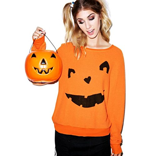 Gillberry Women Halloween Pumpkin Print Long Sleeve Pullover Tops Blouse Shirt (XL, Orange D) -