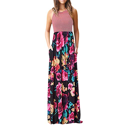 (Lovor Womens Summer Contrast Sleeveless Rockabilly Casual Tank Top Floral Print Maxi Flared Swing Dress with Pocket(Hot Pink2,L))
