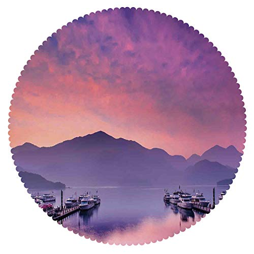 (iPrint Beautiful Round Tablecloth [ Lake House Decor,Sun Moon Lake Nantou Taiwan Romantic Evening View Decorating Nature Picture,Purple Coral Blue ] Decorative Tablecloth)
