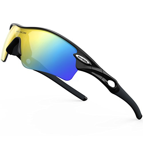 RIVBOS 805 POLARIZED Sports Sunglasses with 5 Set Interchangeable Lenses for Cycling (Black&Black)